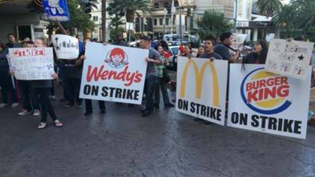 Fast food workers seek higher wages in Strip protest