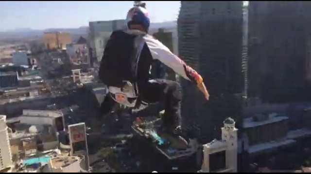 BASE jumpers leap off top of Las Vegas' Eiffel Tower