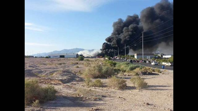Three-alarm blaze damages recycling plant in North Las Vegas