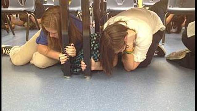 Earthquake Drill Sends Students Under Their Desks