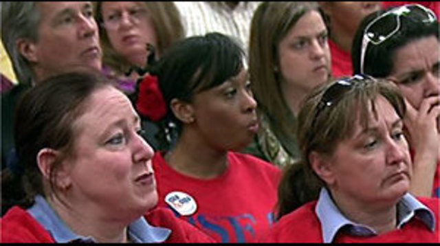 CCSD Employees Chant  'Save Education'