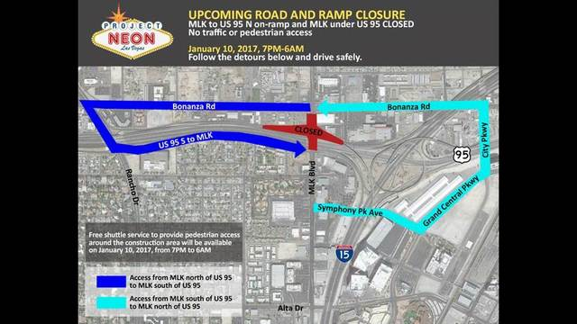 NDOT: MLK Blvd between Bonanza and southbound U.S.95 to close Tuesday