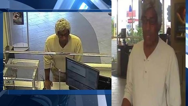 Wig-wearing man tries to rob bank