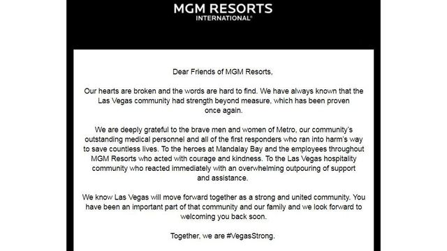 MGM Resorts issues open letter of heartbreak and gratitude