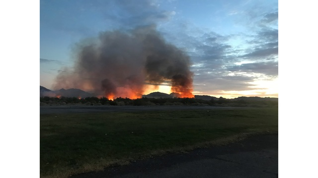 Brush fire at Wetlands Park