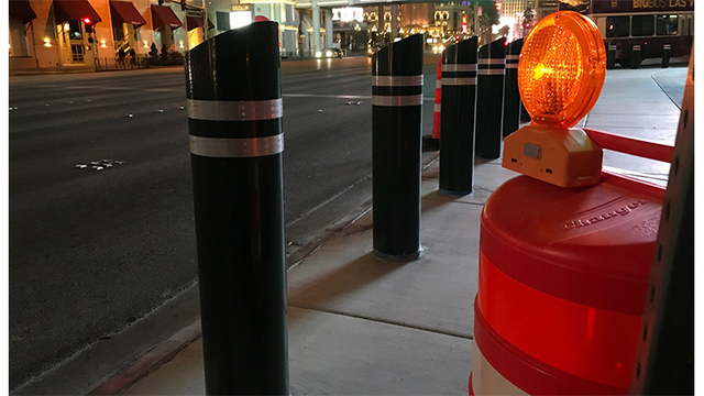 Hundreds of bollards installed on Las Vegas Strip