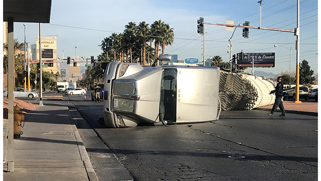 Overturned semi-truck causes traffic problems Thursday