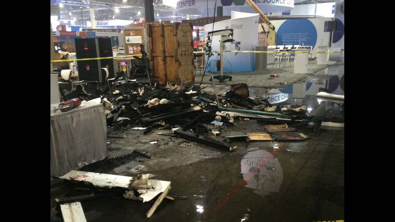 Booth catches fire at Sands Expo and Convention Center