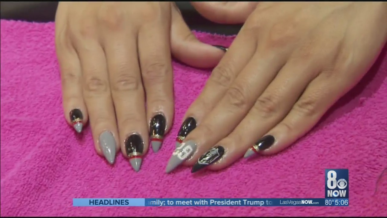 Nail salon offering Golden Knights manicure