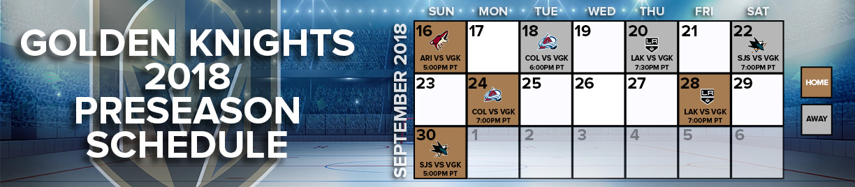 Golden Knights preseason schedule