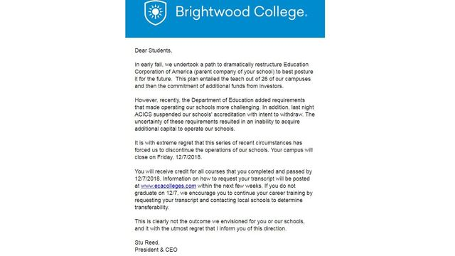 Las Vegas campus affected by closure of Brightwood and