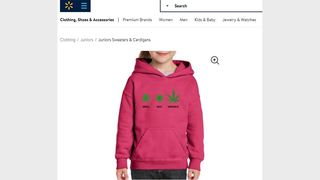 SHOCKING SWEATER: A sweatshirt with teen marijuana motifs appears on the Walmart website.